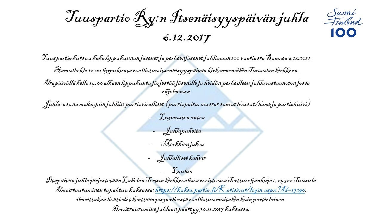 Tuuspartio Ry juhlakutsu 6.12. versio 2